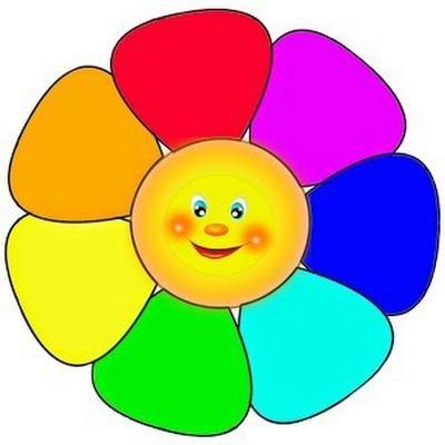 Цветок с разноцветными лепестками картинка для детей